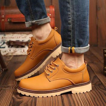 Slip Resistant Work Shoes Men Casual Oxford Shoes Fashion Comfortable Men Walking Flats Leather Lace Up Shoes Male footwear Hot