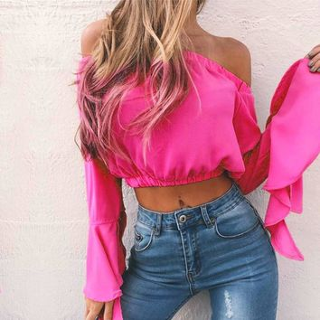 Solid Off Shoulder Butterfly Sleeve Crop Top Blouse