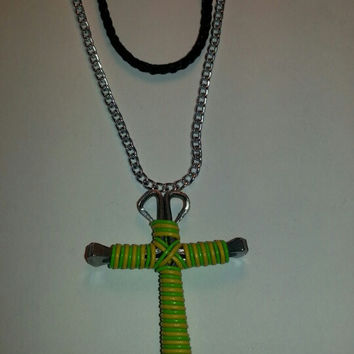 Yellow and neon green candy cane wire wrapped horseshoe nail cross necklace jewelry