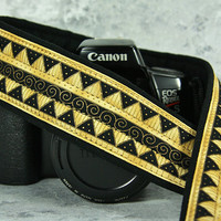 Gold Tribal Camera Strap dSLR or SLR, Southwestern, Gold, Black, Aztec, Myan, African, 200 w