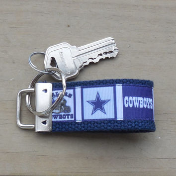 Mini Key Fob, Cowboys Ribbon Mini Key Chain, Dallas Cowboys Mini Key Fob, Mini Key Ring or Key Holder