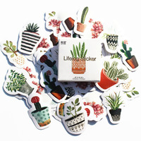45pcs/Box Potted Plants Stickers Pack Post it Kawaii Planner Scrapbooking Sticky Stationery Escolar School Supplies2017