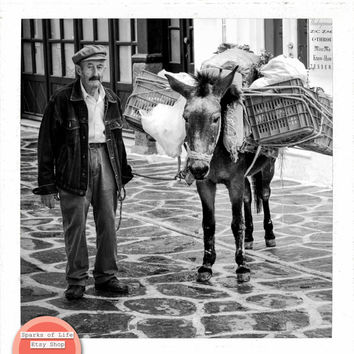 Greece square instant printable, Greek man with donkey, travel photography digital download, vintage wall art home decor culture cobblestone