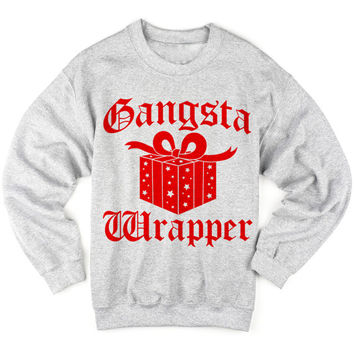 Gangsta Wrapper christmas sweatshirt . Christmas sweater . Ugly christmas sweater . Holiday shirt . Funny shirt . Hip hop shirt