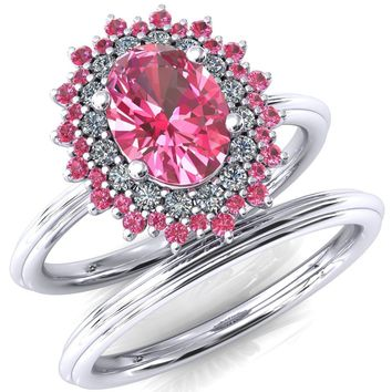 Best pink diamond rose gold wedding rings products on wanelo eridanus oval pink sapphire cluster diamond and pink sapphire halo wedding ring ver2 junglespirit Choice Image