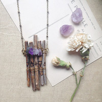 raft | wood amethyst necklace - four elements necklace - wood crystal necklace - woodland witch necklace - natural jewelry