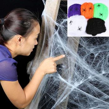 ONETOW Stretchy Spider Web Cobweb With Spider for Halloween Party Decoration New