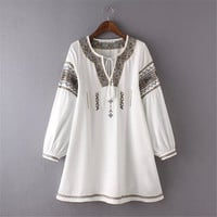 White Ethnic Embroidery Tie Neck Lantern Sleeve Boho Dress