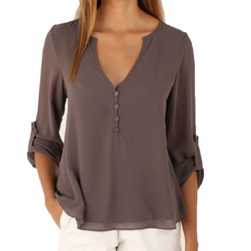 Long Sleeve Summer Chiffon Blouse Shirt Women Deep V Neck Buttoned Back High Low Asymmetric Loose Casual 2016 Top PL8