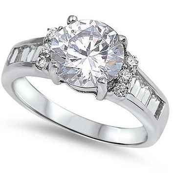 A Perfect 2.3CT Round Cut Russian Lab Diamond Baguette Accents Ring