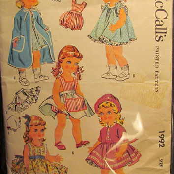 SALE RARE 1950's McCall's Sewing Pattern, 1992! Doll Clothes/ Chubby/Baby Sue/Saucy walker/Posie Dolls/Robes/Night Gown/Panties/Rompers/Dres