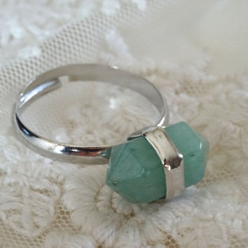 1- Jade Gemstone Ring Silver Adjustable Jade Green Gem Stone Bullet Point Ring All Sizes Finished Jewelry on BuyDiy