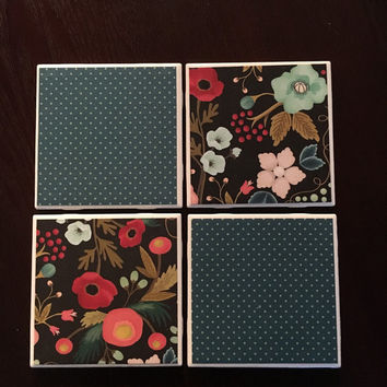 Set of four coasters- vintage blue polka dots and red, pink, blue, green flowers with black background