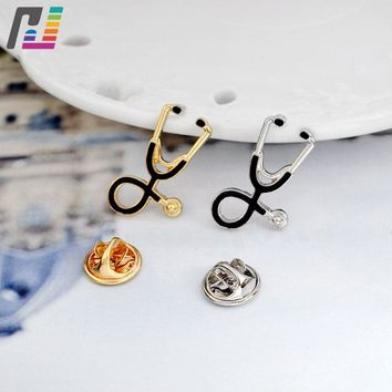 Trendy 2pcs/set Stethoscope Brooch Pins Medical Jewelry Enamel Pin Denim Jackets Collar Nurse Jewelry Doctor Gift Graduation Gift AT_94_13