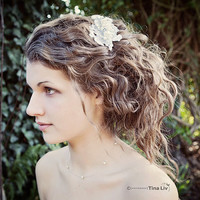 My Sweet Leonora bridal hair clip - Shimmering hair piece with sequins, lace and pearls