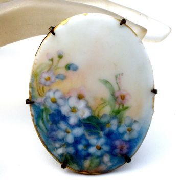 Victorian Hand Painted Blue Flower Brooch Pin