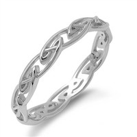 925 Sterling Silver Twisted Chain Designer Ring 4MM