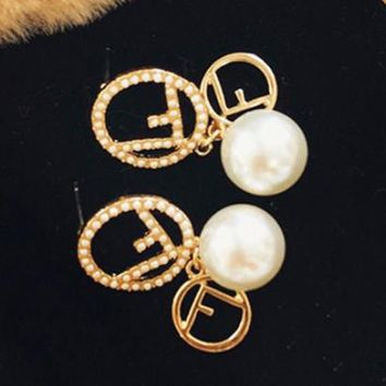 Fendi Fashion New More Pearl Personality Long Earring Women Accessories