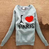 Green Letter Pairs Hearts Cartoon Fleece Sweatshirt $39.00