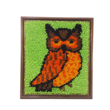 Retro Framed Owl Latch Hook, Vintage Wall Hanging, Tapestry, 70s Decor, Hippie Boho, Green Orange Brown