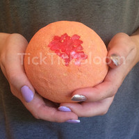 Mango Tango Large Mango Scented Bath Bomb with Red Crystals