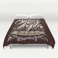 Supernatural Saving People Hunting Things the Family business quote Dark Background Duvet Cover by House Of H