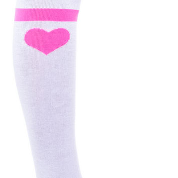 Leg Avenue CoCo's Heart Striped Knee Socks White One