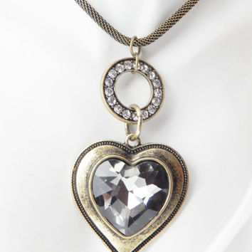 Heart Jewelry Necklace Metal Brass Jewellery Glass Smoky Womens Ladies Gold Antique Pendant Statement Gift Love Romance