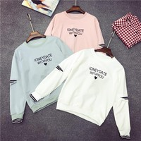 Letter Print Stripe Stitching Long Sleeve Women Casual Pullover Sweater Loose  Tops
