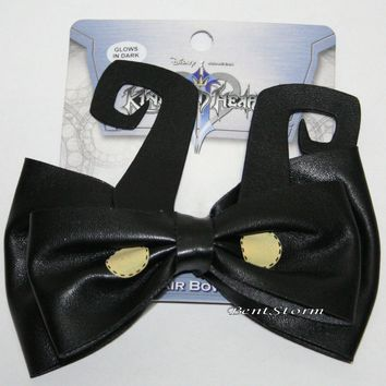Licensed cool Disney Kingdom Hearts HEARTLESS Black Glow in the Dark Hair Bow Cosplay Costume