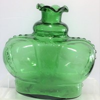 Molded Transparent Green Glass Crown Bottle, 6 Inches Tall, Unsigned, Mid Century Window Home Decor 818m