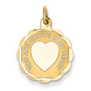 You Are Always In My Heart Charm in 14k Gold
