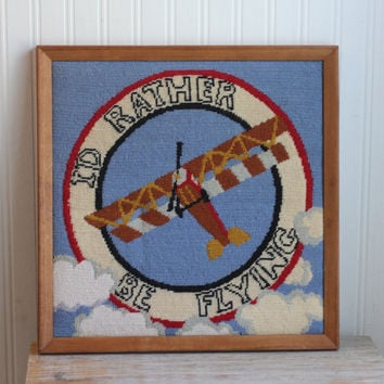 Vintage Framed Biplane Needlepoint - Id Rather Be Flying
