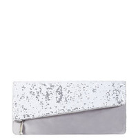 White BCBG Melody Asymmetrical Sequin Foldover Clutch