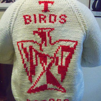 SALE Handmade College Sweater JacketCasper by TheTravelingOwlShop