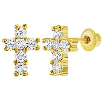 18k Gold Plated Clear CZ Religious Cross Earrings with Screw on Backs Girls Kids