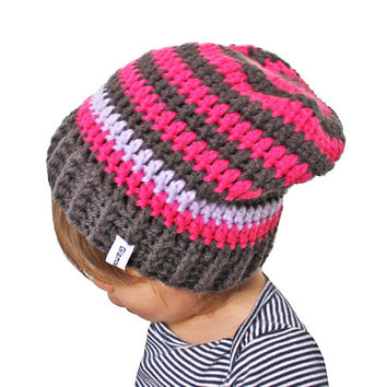 Pink and Grey Striped Crochet Slouch Baby Toddler or Childrens Beanie Any Size 0-8 Years Fitted or Slouchy style
