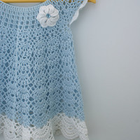 Infant girl dress - summer dress baby girl - blue crochet dress - blue baby outfit - soft cotton dress
