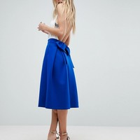 ASOS Scuba Prom Skirt with Bow Back Detail at asos.com