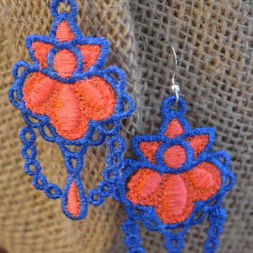 UF Gator Chandelier Embroidered Lace Earrings Gift - Bridesmaid Gift -  Best Friend Gift - UF Alum Gift- UF Fan -Mother's Day Gift