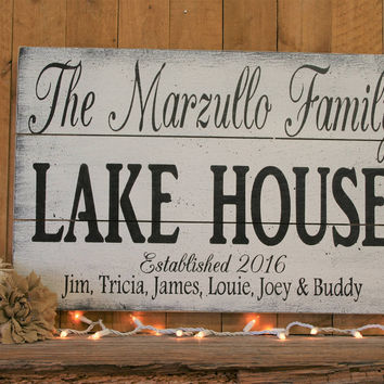 Wood Pallet Sign Lake House Sign Lake House Wall Decor Personalized Gift Beach House Sign Custom Name Sign Housewarming Gift