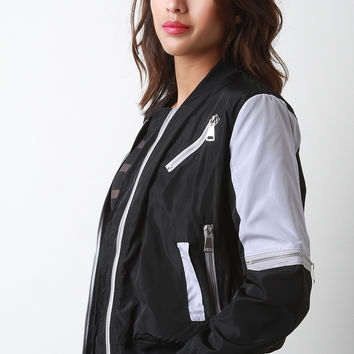 Two-Tone Zipper Bomber Jacket
