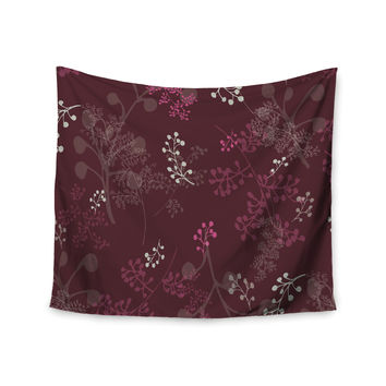 "Laurie Baars ""Ferns Vines Bordeaux"" Maroon Floral Wall Tapestry"