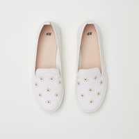 Slip-on trainers - White/Appliqués - Ladies | H&M GB
