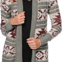 Trillium Burgundy & Grey Tribal Cardigan