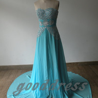 2013 New Arrival Sky Blue Beaded Sequin Chiffon Sleeveless Ruched Court Train Formal Evening/Prom/Party/Bridesmaid Dress