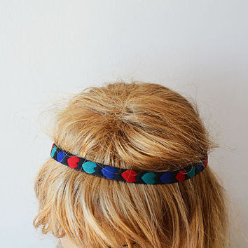 Heart Patterned Headband, Women Accessories, Hair Accessories, Elastic Headband, For Women, For Her, Red, Green, Blue