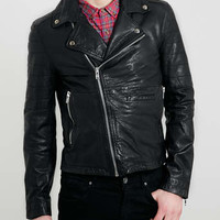 BLACK LEATHER BIKER JACKET - Leather & Leather Look Jackets - Men's Jackets & Coats - Clothing