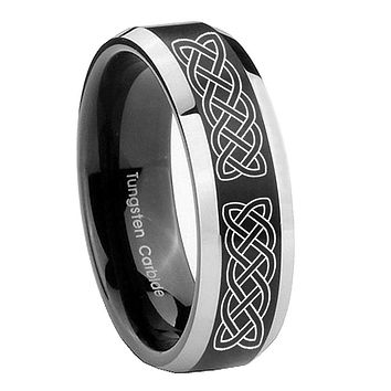 8mm Celtic Knot Beveled Edges Brush Black 2 Tone Tungsten Carbide Promise Ring