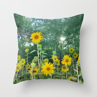 Sunflowers in the forest Throw Pillow by Guido Montañés